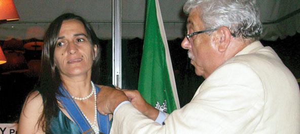 Maria Vicetro à frente do Rotary Curia-Bairrada