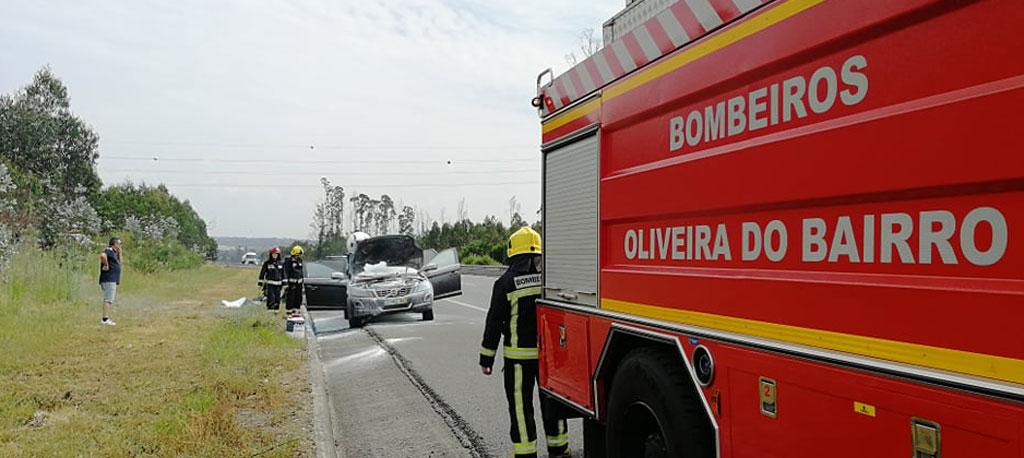 Trânsito: Carro incendiado na Auto-Estrada do Norte (A1)